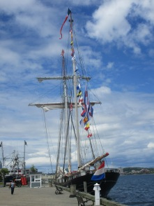 A tall ship from the Netherlands docked at the harbour.