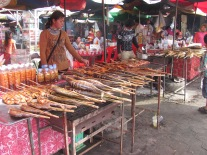 Selling fish in Kep, Cambodia