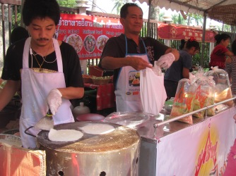 Preparing mango pancakes