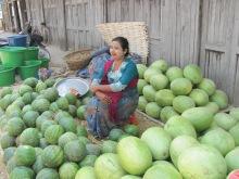Myanmar lady selling watermelons