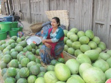 Myanmar lady selling watermelons