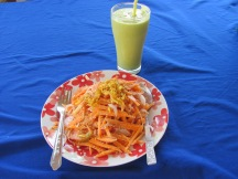 Delicious avocado drink and carrot salad, Inlee Lake, Myanmar