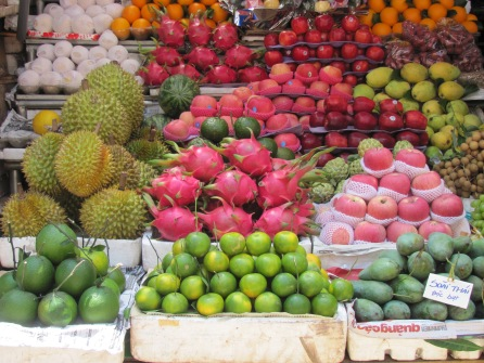 Fresh fruit in Hanoi market,Viet Nam.