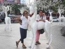 Friends having fun at the Maya shopping centre