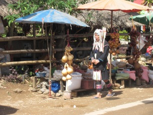 A Hill tribe market - a Hmong lady.