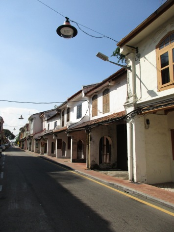 Newly restored shop houses on a Melaka St.
