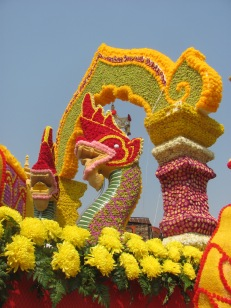Elaborate float for Flower Festival