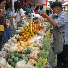 A mobile fruit vender
