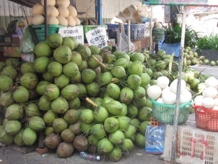 Coconuts are a main staple in Cambodian diets