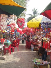 Colourful market in Kep, the home of the Blue Crab.