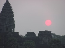 Ankor at sunrise. Khmer architecture at its best.